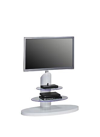 MAJA TV-Rack Fernsehständer inklusive LED-Beleuchtung in Weiß Hochglanz / Klarglas 110x131x47cm - TV-Halterung schwenkbar und höhenverstellbar