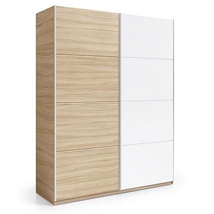 Habitdesign ARC184W - Armario 2 puertas correderas, color Nature y Blanco Brillo, medidas: 180x200x63cm de fondo