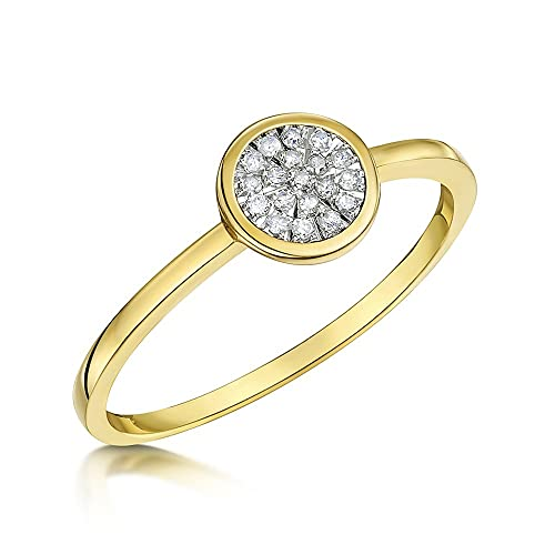 Theia 9ct Yellow Gold - Highly Polished - Dress Diamond Ring 0.10ct