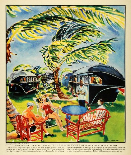 1937 Print Miami Florida Biscayne Boulevard Trailer Camp Ollie Trouts Golinkin - Original Color Print