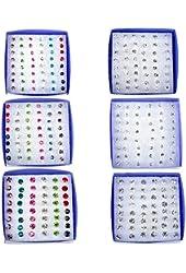 Imixlot Lot of 144Pairs(6boxes) Rhinestone Crystal Plastic Earring Ear Studs