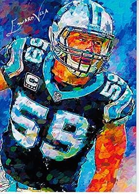 Luke Kuechly #3: Carolina Panthers - #3/9 - ULTRA RARE! 2015 Limited Edition Original Artwork Sketch Card