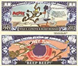 Novelty Dollar Wile E Coyote and Road Runner Million Dollar Bills x 4 Looney Tunes Cartoon