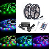 ALED LIGHT® Non-waterproof 2x5M (10M in Total) 3528 RGB 600 LED Strip Lights Full Kit With 6A UK Power Supply +24 Key IR Remote.Ideal for Home and Kitchen Lighting.
