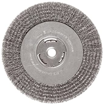 "Weiler Vortec Pro Wide Face Wire Wheel Brush, Round Hole, Carbon Steel, Crimped Wire, 8"" Diameter, 0.014"" Wire Diameter, 5/8"" Arbor, 1-3/8"" Bristle Length, 1"" Brush Face Width, 6000 rpm"