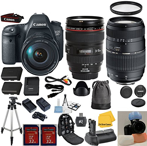 Canon EOS Rebel 6D 20.2 MP CMOS Digital SLR Camera with Canon 24-105 L Zoom Lens 33rd Street Bundle with Tamron 70-300mm Zoom Lens + 64GB Memory + 21pc Accessory Kit