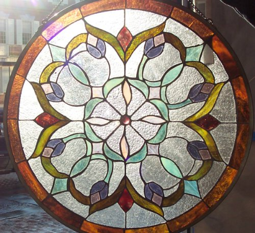 Stained glass panels for 12 round window