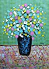 Colorful Spring Flowers in Green Background Palette Knife Acrylic Painting Original Signed Thick…