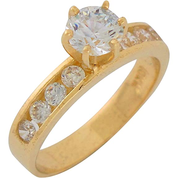 9ct Yellow Gold White CZ Elegant Ladies Wedding Engagement Ring