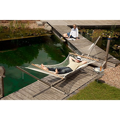 Coolaroo Chillax Virginia Ecru Cotton Double Hammock with Timber Spreader Bar