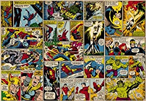 Marvel superheroes avengers comic book wall mural for Avengers wall mural amazon