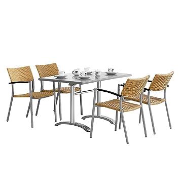 BEST 94150791 5-teilig Gartenmöbel Set Albany und Maestro 120 x 80 cm, silber / Acantus