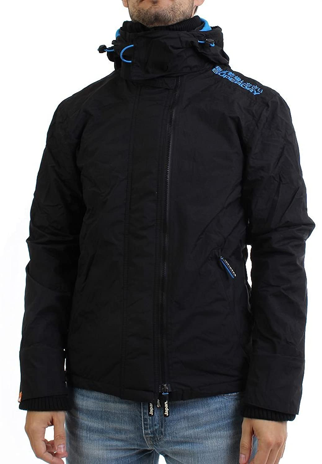 Superdry Windbreaker Men - HOODED ARCTIC POP ZIP - Black-Fluro Blue