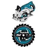 Makita XSR01Z 18 Volt X2 LXT Lithium-Ion (36V) Brushless Cordless Rear Handle 7-1/4 inch Circular Saw with three B-61656 7-1/4 inch 24T Carbide-Tipped Max Efficiency Circular Saw Blades
