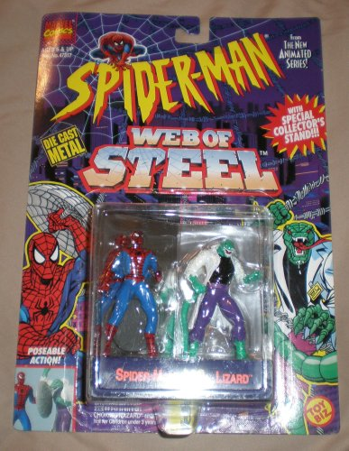 Spider-Man Web Of Steel Spiderman Vs. Lizard Die Cast Metal Poseable Figures