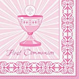 Radiant Cross Pink First Communion Party Napkins, 16ct