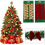 Generic As Picture : 12pcs/lot Christmas Decorations Trees Bow Pendant Ornaments Santa Claus Christmas Red Silver...