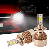 XCSOURCE 2pcs 10000LM 55W LED Car Headlight H7 Halogen Lamp Bulb Built-in Cooling Fan 6000K White LD1242