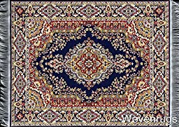 Blue Oriental Woven Rug Mouse Pad - Persian Style Carpet Mousemat