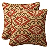 Pillow Perfect Decorative Red/Tan Damask Toss Pillows, Square, 2-Pack