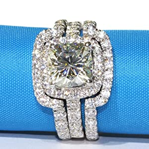 4CTTW 3CT Center Cushion Cut NSCD Simulated Diamond Wedding Set Engagement Ring