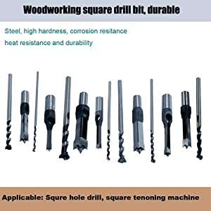 MAX-CRAFT 7Pcs Woodworking Square Hole Mortise Chisel Drill Bits Set with Size 1/4-5/16-3/8-1/2-9/16-5/8-3/4 Wood Hole Saw Mortising Chisel Countersink Drill Bit Tool Kit (Color: BLACK AND WHITE, Tamaño: 7PCS SET)