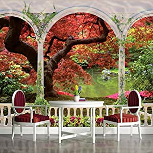 Arches autumn tree view wallpaper mural for Amazon mural wallpaper