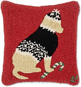 """Handmade Hand-Hooked Golden Retriever Yellow Lab Nordic Ski Sweater Candy Cane 100% Wool Holiday Dog Decorative Christmas Throw Pillow. 18"""" x 18""""."""