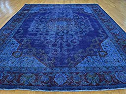 10 x 12 HAND KNOTTED WORN DENIM BLUE OVERDYED PERSIAN TABREZ ORIENTAL RUG G23690
