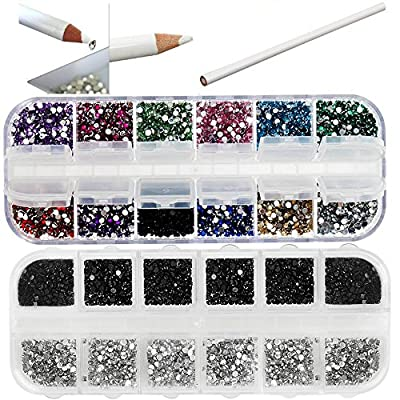 Best Quality Professional Nail Art Set Kit With White Wax Rhinestones Picker Pencil, 2000 2mm Round Black And Silver Crystals In Box And 3000 Mixed Colors Gemstones In Storage Case By VAGA