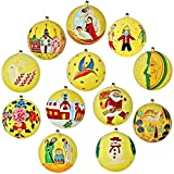Set of 12 Yellow Paper Mache Diwali Ornaments Handmade in Kashmir, India
