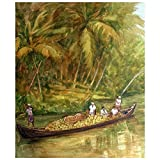 Anil Narayanan Acrylic Ferrying Cocount Harvest Painting (65 Cm X 55 Cm)