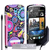 Yousave Accessories Jellyfish Silicone Gel Cover with Stylus Pen and Car Charger for HTC Desire 500