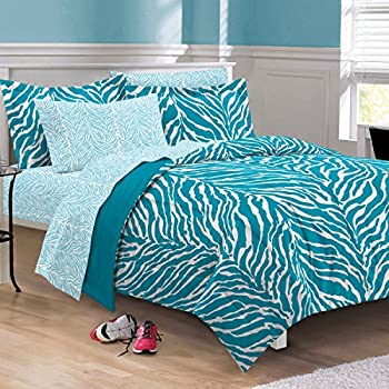 My Room Zebra Ultra Soft Microfiber Comforter Sheet Set, Aqua, Queen