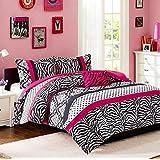 Comforter Bed Set Teen Kids Girls Pink Black White Animal Print Full or Twin Xl Polka Dots Bedding Set (twin/twin xl)