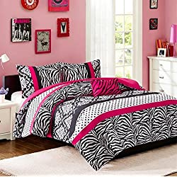 Comforter Bed Set Teen Kids Girls Pink Black White Animal Print Full or Twin Xl Polka Dots Bedding Set (twin/twin xl)