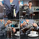 Divlor-French-Press-Coffee-Maker-Stainless-Steel-34-Ounce-8-Cups-Heat-Resistant-Glass-Stainless-Steel-Clip-Spoon-and-2-Filters-included