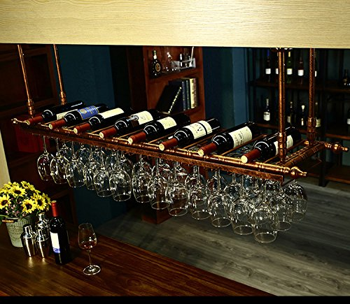 WGX Wine Bar Wall Rack 60 Hanging Bar Glass Rack&Hanging Bottle Holder Adjustable(Bronze)