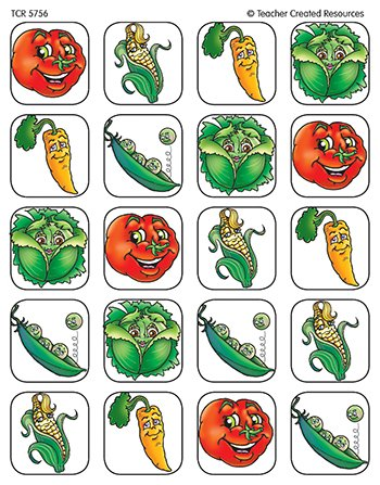 20 Pack TEACHER CREATED RESOURCES VEGETABLES STICKERS 120 STKS