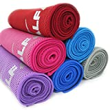 "Cooling Towel for Instant Relief - 40"" Long As Scarf, XL Ultra Soft Compact Mesh Sports Fitness Towels - Keep Cool for Gym Running Biking Hiking Yoga Golf, with Carabiner Waterproof Bag Packaging"
