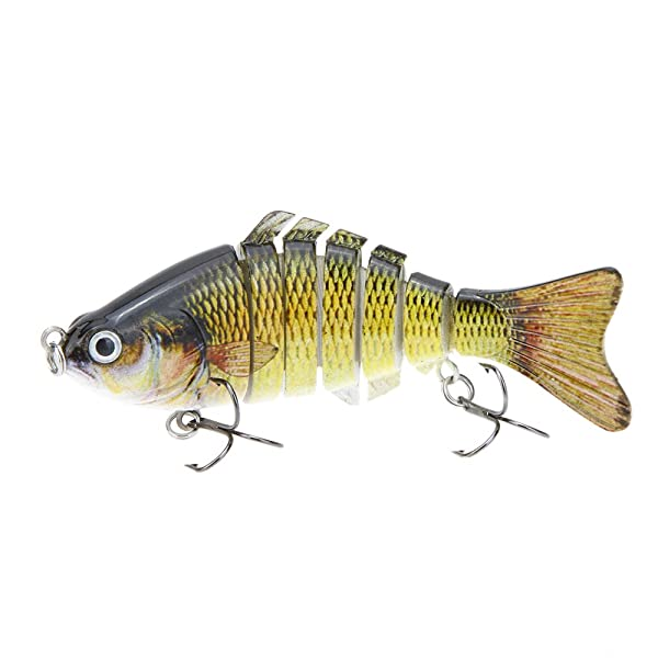 "Lixada 10cm/4"" 15.5g Bionic Multi Jointed Fishing Lure SUN-FISH Lifelike Hard Bait Bass Yellow Perch Walleye Pike Muskie Roach Trout Swimbait"