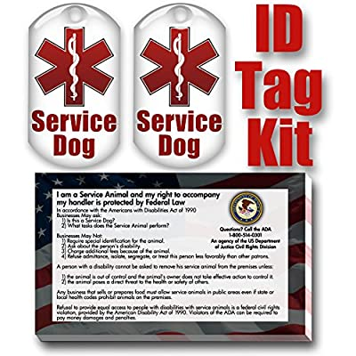 Service Dog ID Tag Kit with 50 FREE ADA Information Cards That Explain Your Service Dog's Rights