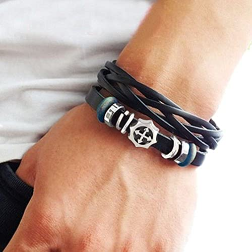A nice leather woven bracelet look nice on lean arms.
