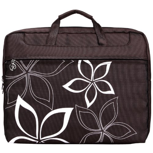 14.1 Inch K-Cliffs Brown Hawaiian Flowers Floral Print Laptop Sleeve Carry Case Convertiable to Briefcase Messenger Shoulder Bag