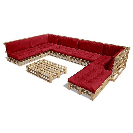Festnight Set Divani in legno tessuto da giardino/esterno 21 pz seduta da giardino con pallet in legno 13 cuscini rosso vino