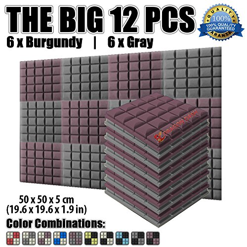 dragon-dash-12-pack-of-196-x-196-x-19-inches-burgundy-and-gray-acoustic-soundproofing-hemisphere-gri