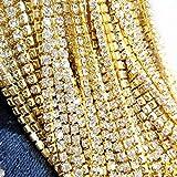 Black Menba 32.8 Feet Crystal Rhinestone Close Chain 2mm Clear Trim Sewing Craft(gold)