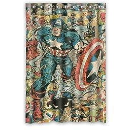 Custom Unique Design Cartoon Anime Superhero Captain America Waterproof Fabric Shower Curtain, 72 by 48-Inch
