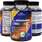 Purest L Arginine Supplement on the Market 60 Capsules - Boost No2 Nitric Oxide Levels, Endurance & Full Time Energy Enhancement - Potent and Effective for Men, Women and Teens - Best L-Arginine + Powder Formula - USA Made By Biogreen Labs