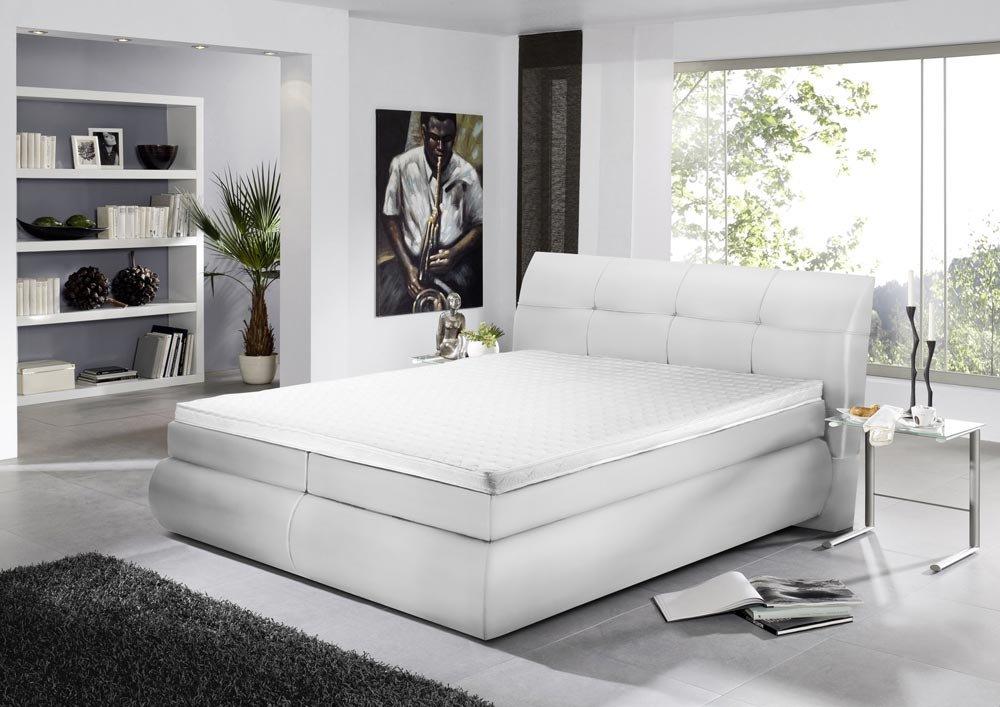 Boxspringbett 180 x 200 cm in weißem Kunstleder bezogen mit 2 Bonellfederkernmatratzen (je 90 x 200 cm), inkl. Kaltschaumtopper in 180 x 200 cm bestellen